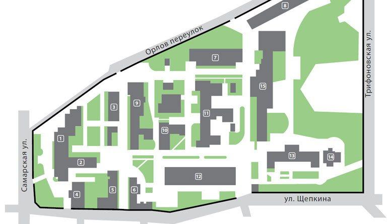 план-схема расположения корпусов МОНИКИ